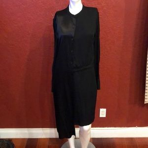 DKNY  WRAP  SHIRT DRESS ASYMMETRIC BLACK SIZE 4